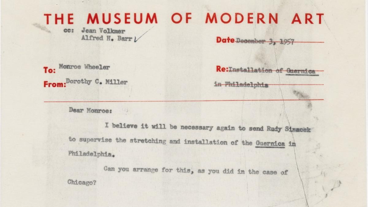 Carta de Dorothy C. Miller a Monroe Wheeler