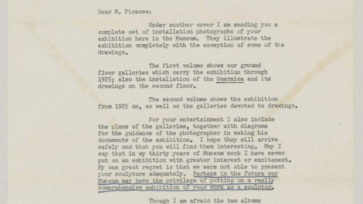 Alfred H. Barr Jr.'s letter to Pablo Picasso, dated 17 December 1957