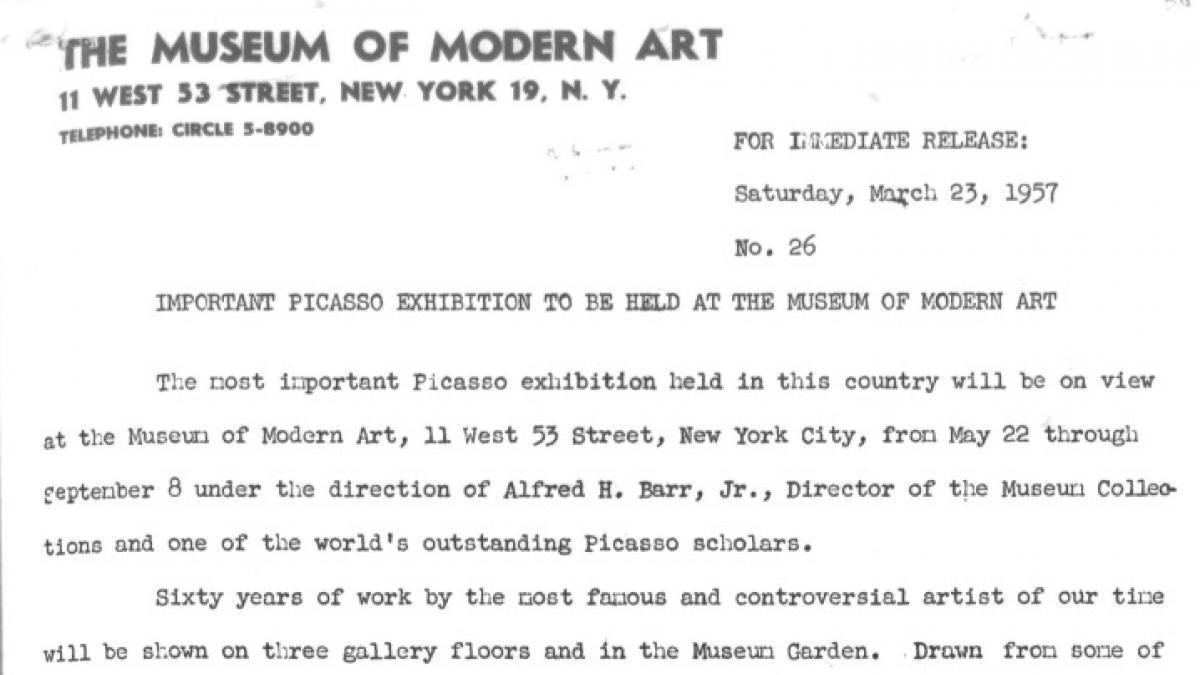 Nota de prensa del MOMA