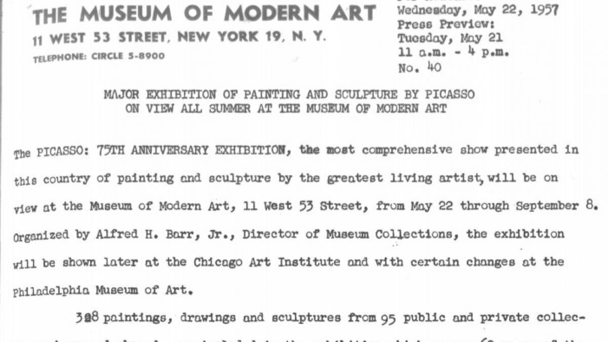 Gran exposición de pinturas y esculturas de Picasso en el Museo de Arte Moderno durante todo el verano