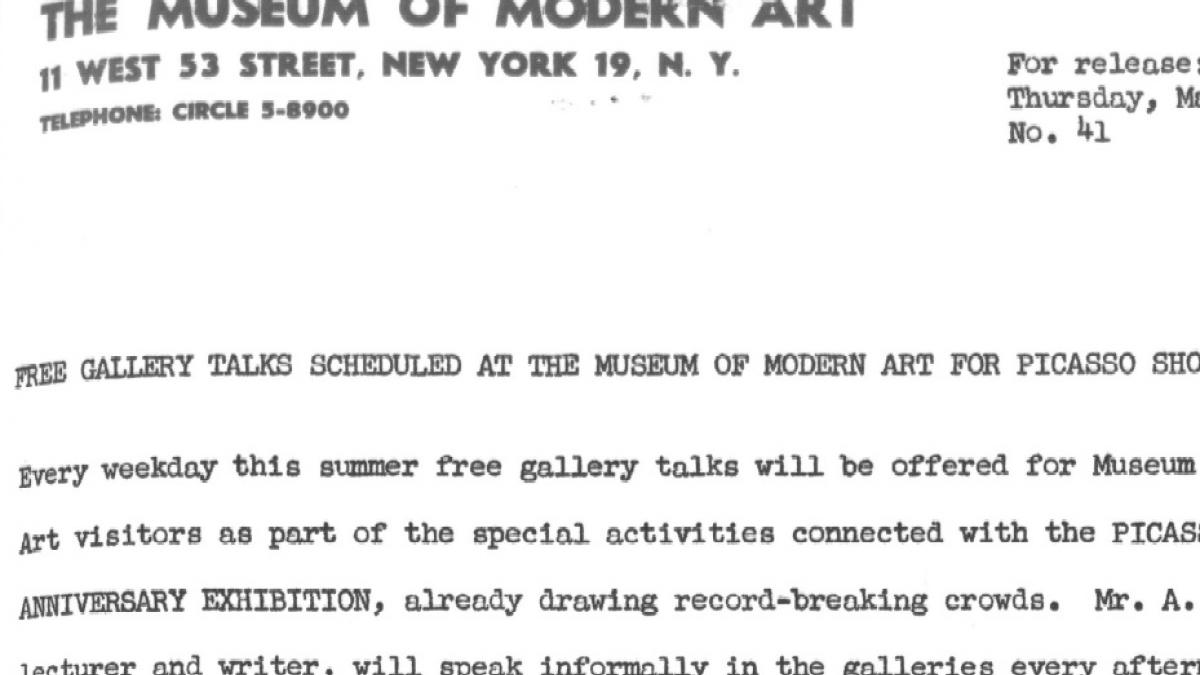 Free gallery talks scheduled at the Museum of Modern Art for the Picasso show this summer