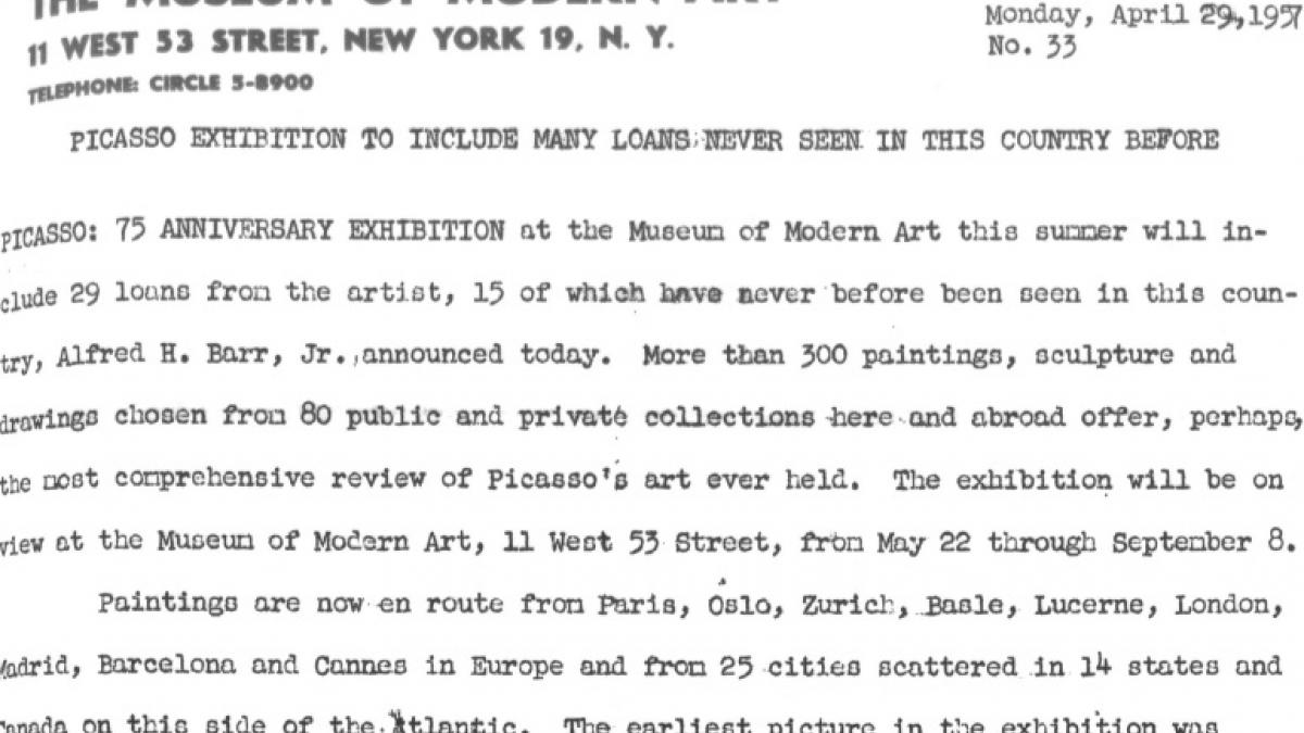Picasso exhibition to include many loans never seen in this country before