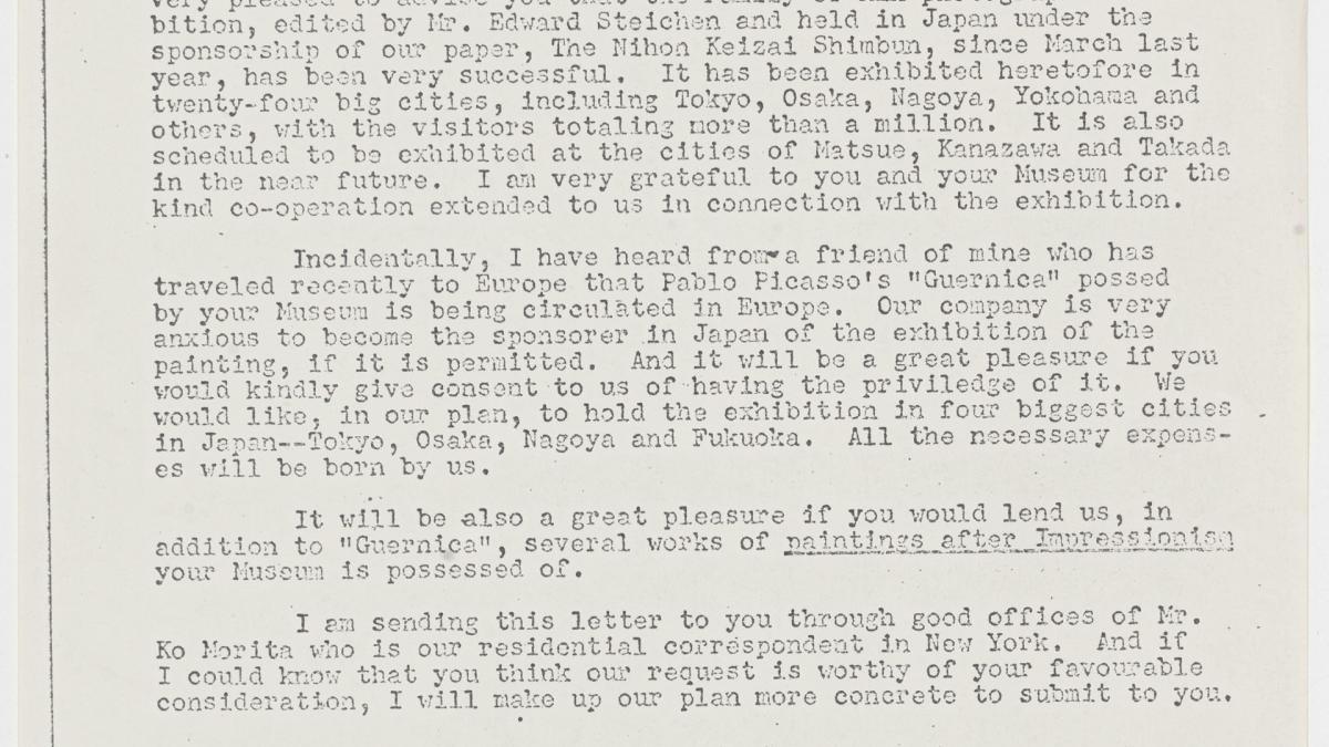 Jiro Enjoji's letter to René d'Harnoncourt