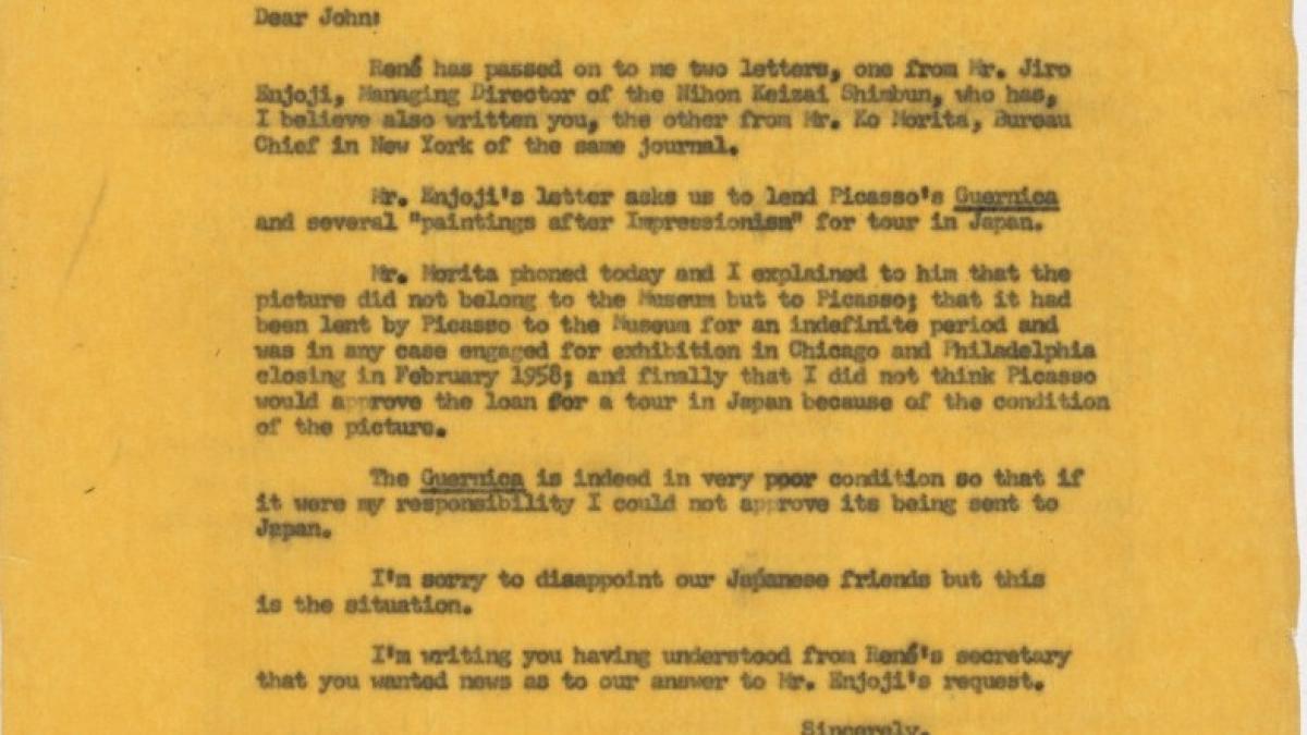Carta de Alfred H. Barr Jr. a John Rockefeller
