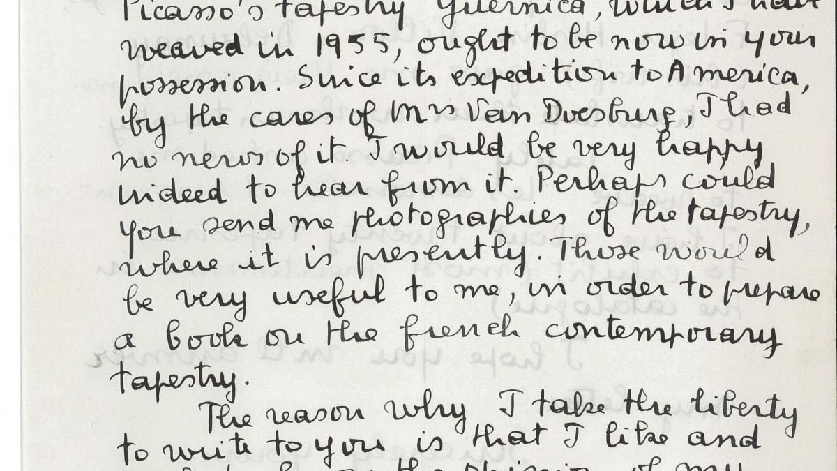 Carta de Jacqueline de la Baume Dürrbach a Nelson Rockefeller