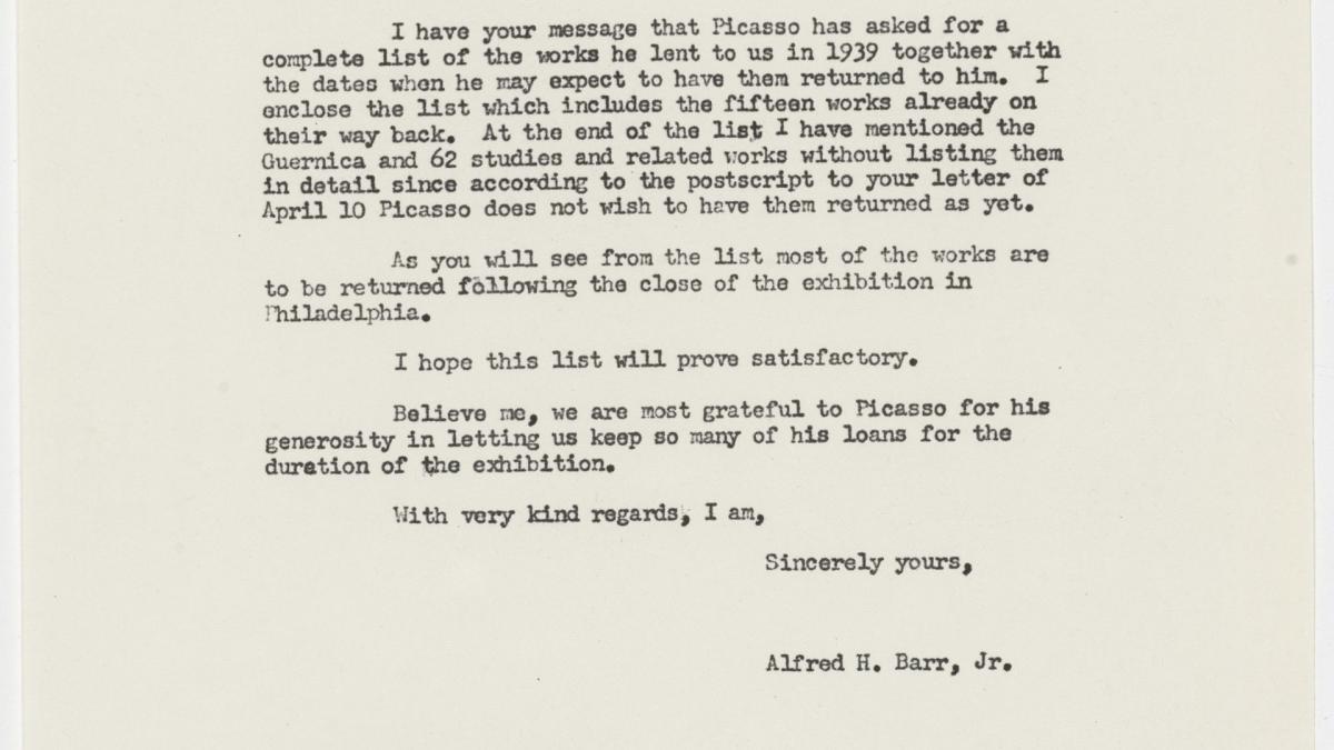 Carta de Alfred H. Barr Jr. a Daniel-Henry Kahnweiler del 30 de mayo de 1957