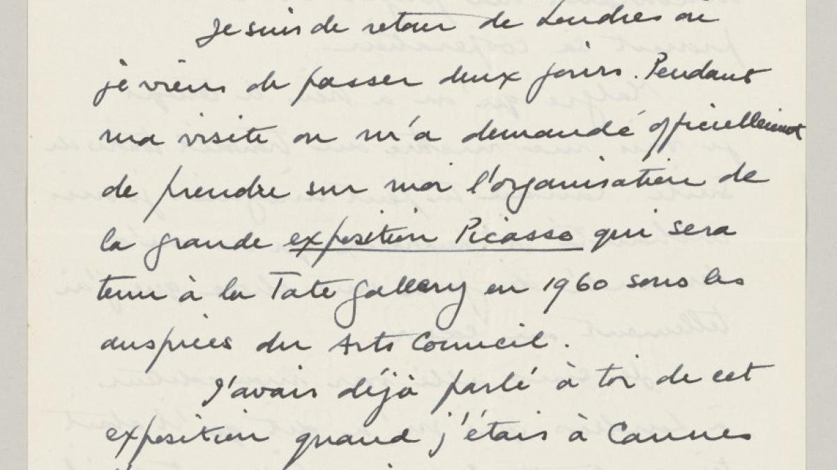 Carta de Roland Penrose a Pablo Picasso del 1 de marzo de 1958