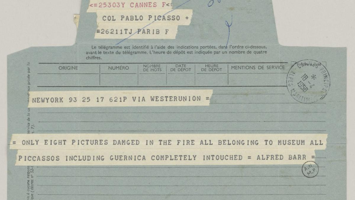 A telegram from  Alfred H. Barr Jr. to Pablo Picasso, dated 18 April 1958
