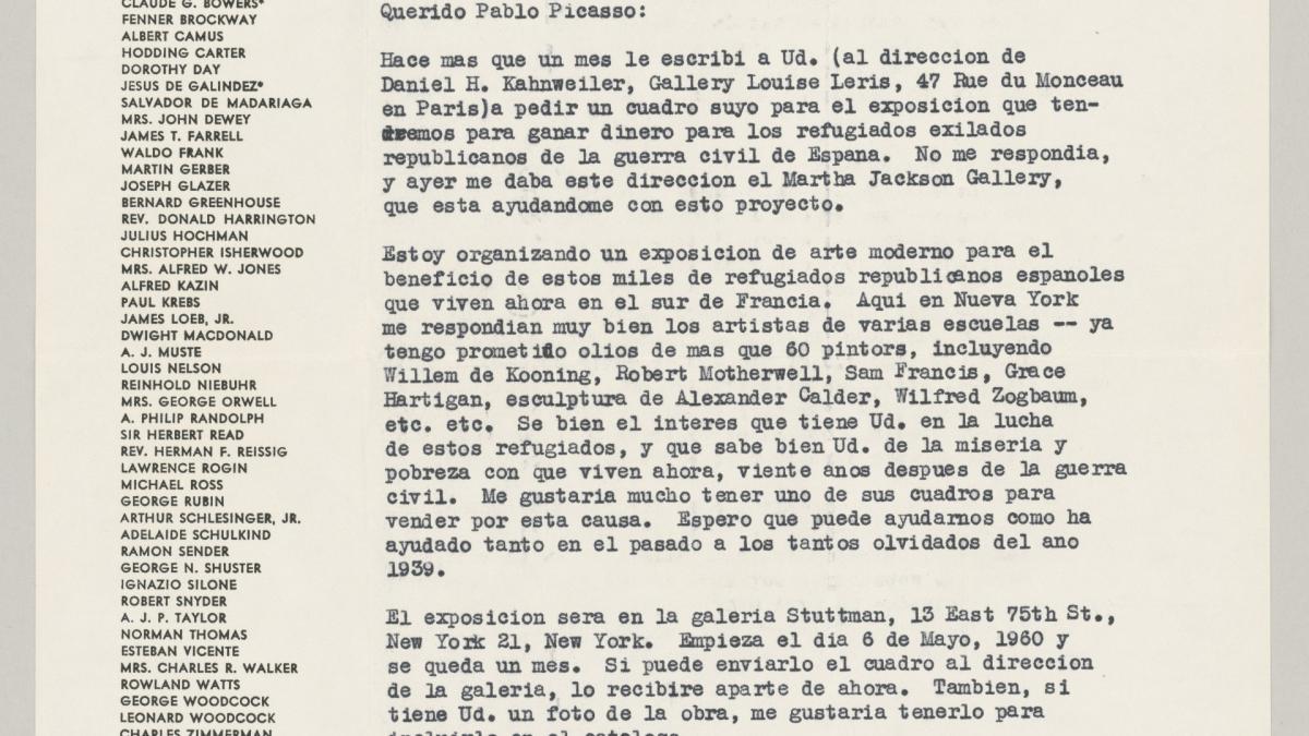 Carta de la Spanish Refugee Aid, Inc. a Pablo Picasso