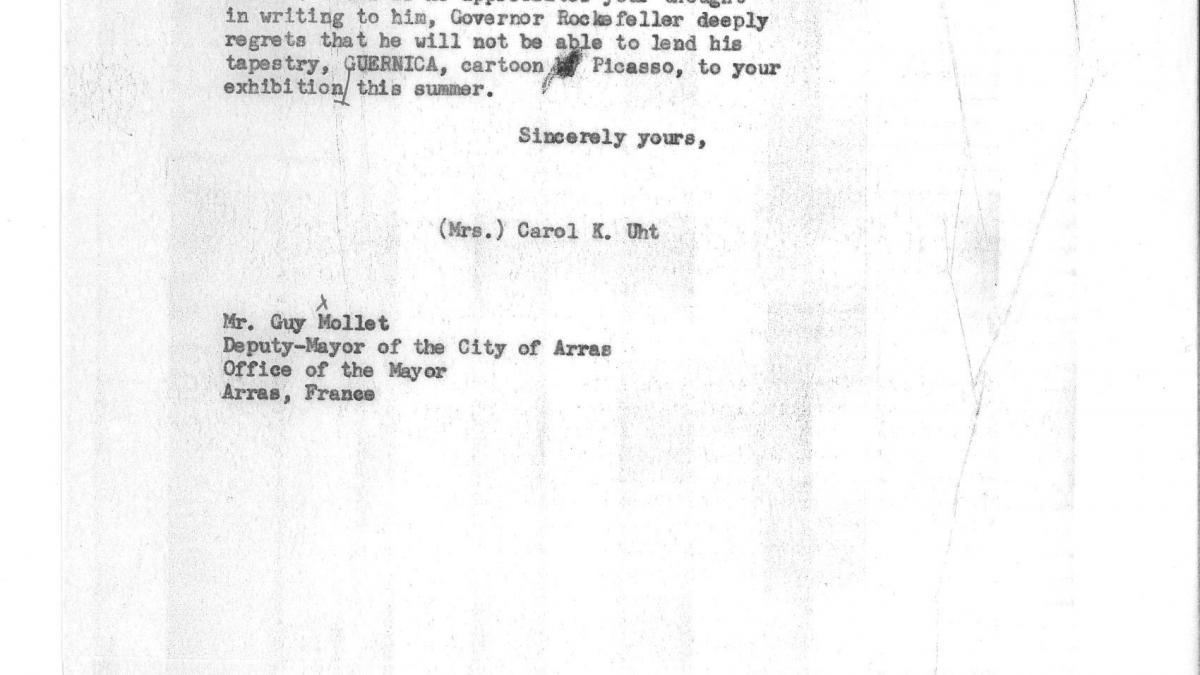 Carta de Carol K. Uht a Guy Mollet