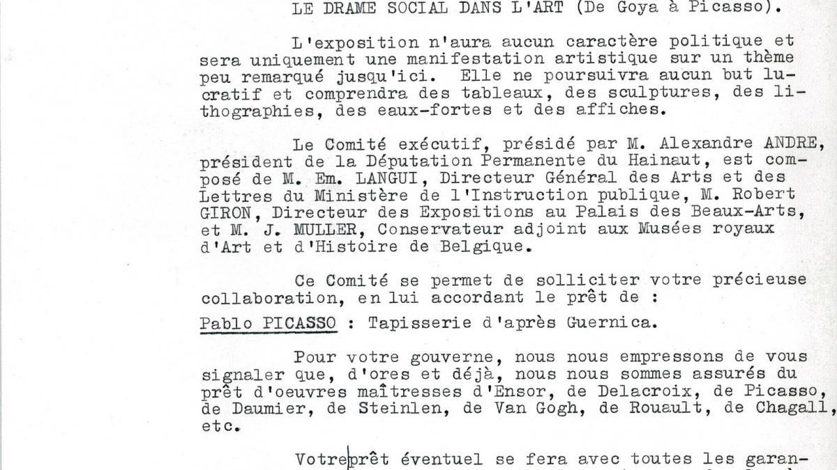 Carta de Émile Langui a Nelson Rockefeller