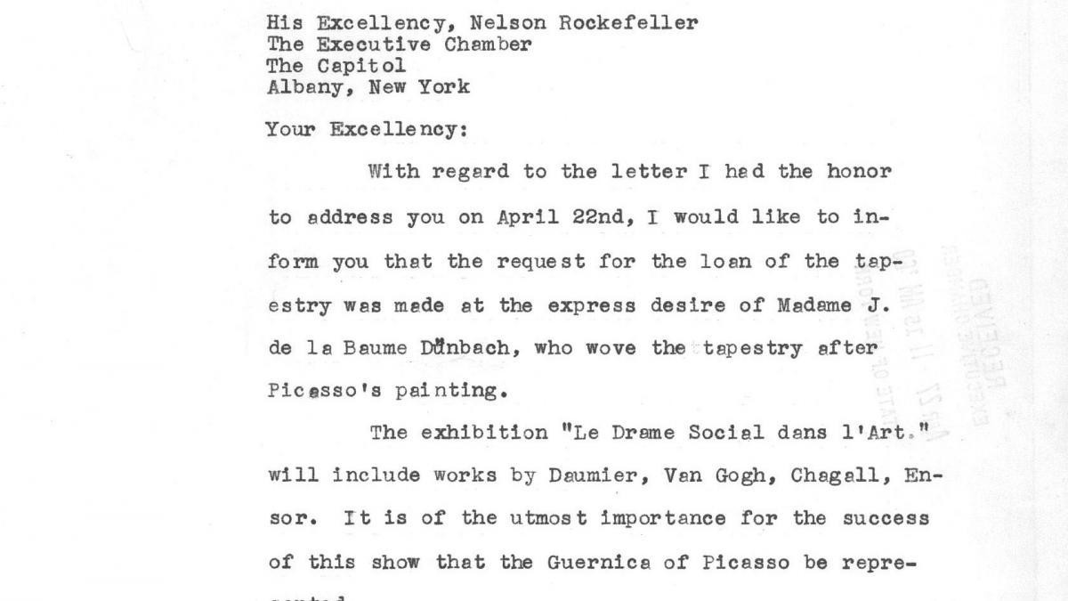 Carta de Jan-Albert Goris a Nelson Rockefeller del 25 de abril de 1960