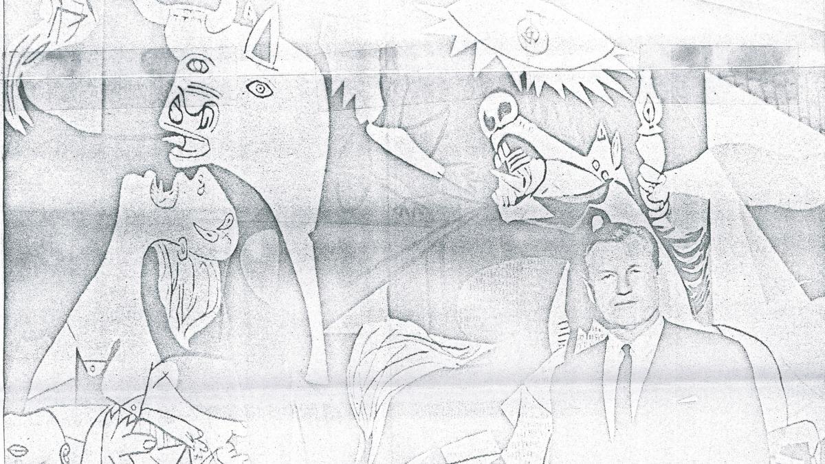 Recorte de prensa con fotografía del tapiz de Guernica y Nelson Rockefeller y texto sobre su colección