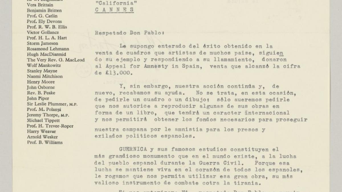 Carta de Michael Ayrton a Pablo Picasso