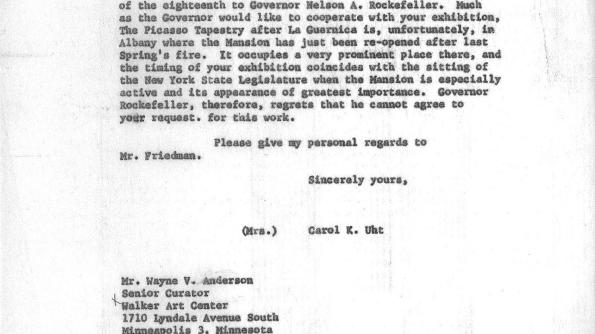 Carta de Carol K. Uht a Wayne V. Andersen