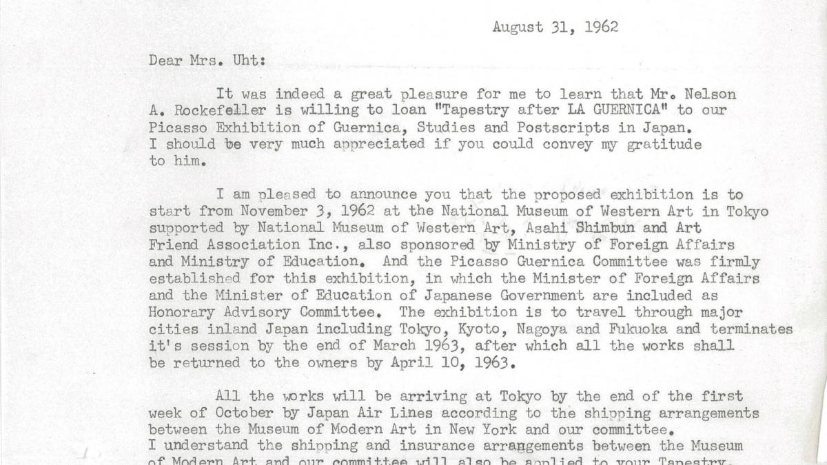 Akira Jin's letter to Carol K. Uht, dated 31 August 1962