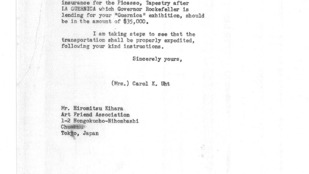 Carta de Carol K. Uht a Hiromitsu Kihara