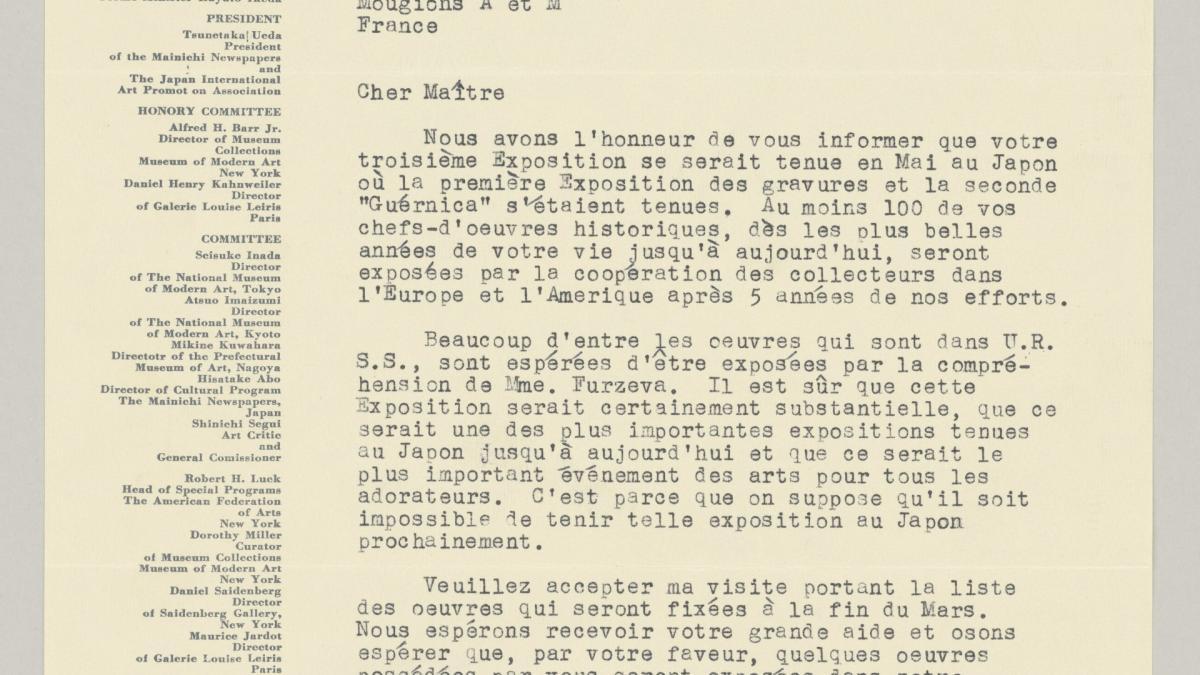 Carta de Shinichi Segui a Pablo Picasso