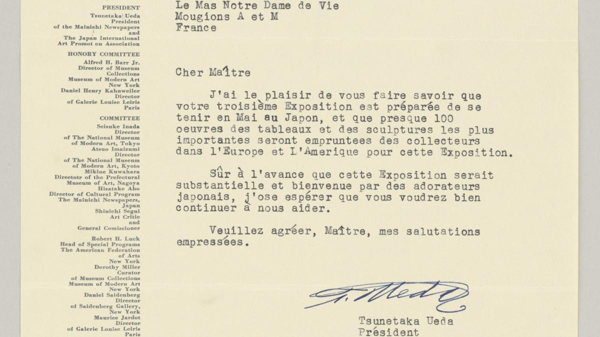 Tunetaka Ueda's letter to Pablo Picasso