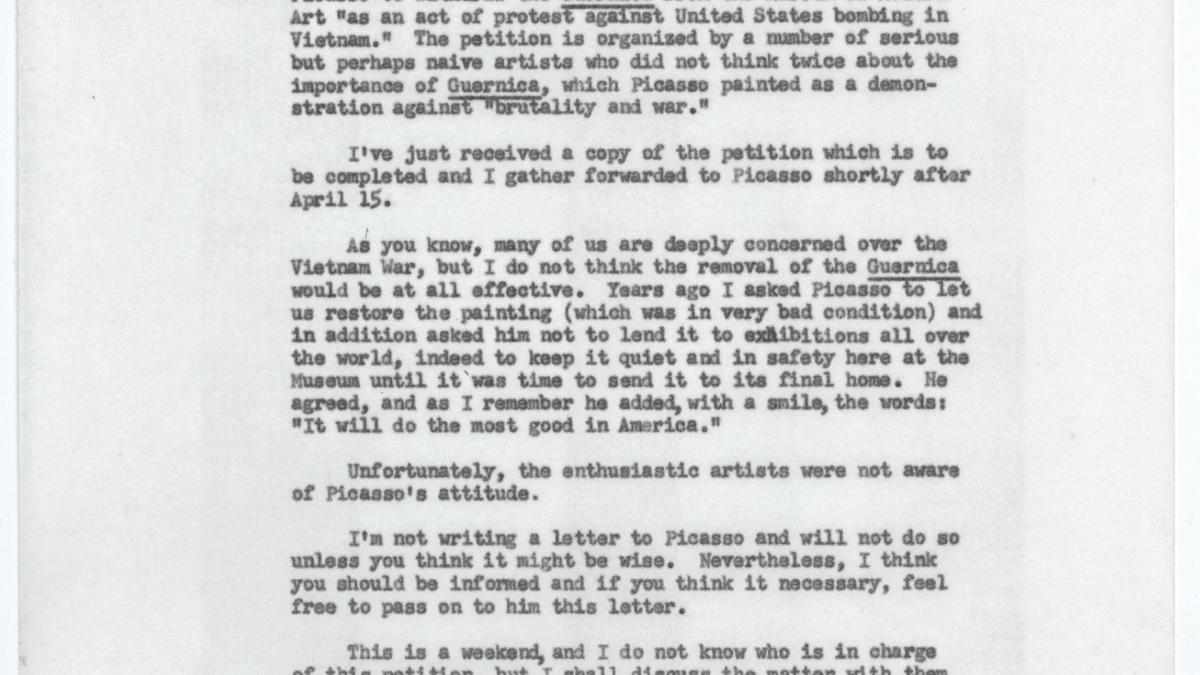 Alfred H. Barr Jr.'s letter to Daniel-Henry Kahnweiler, dated 14 April 1967