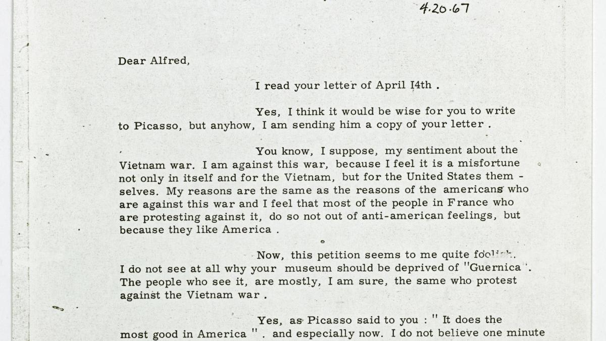 Carta de Daniel-Henry Kahnweiler a Alfred H. Barr Jr. del 20 de abril de 1967