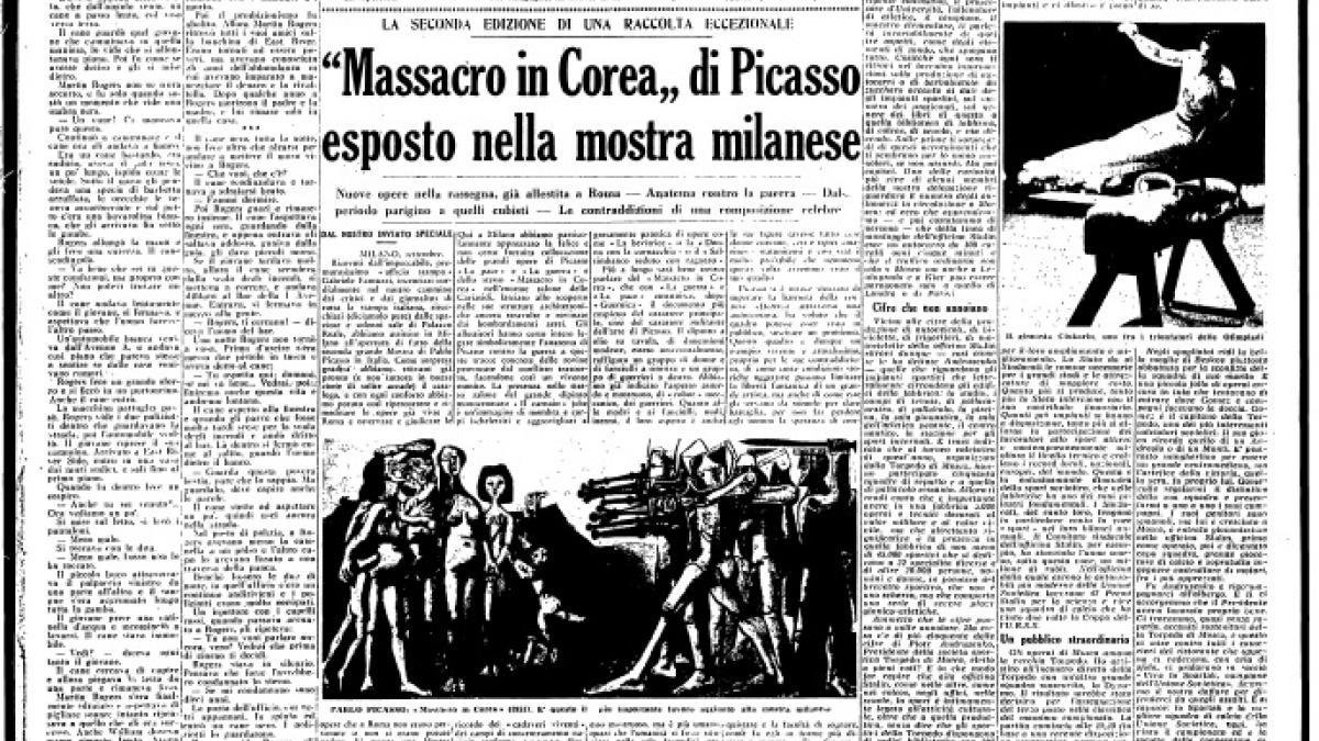 Masacre en Corea de Picasso expuesto en la muestra milanesa