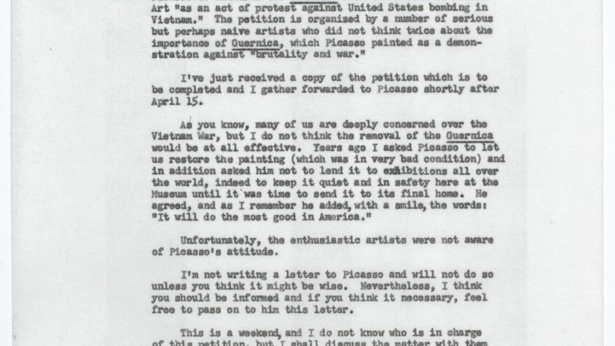 Carta de Alfred H. Barr Jr. a Daniel-Henry Kahnweiler del 14 de abril de 1967