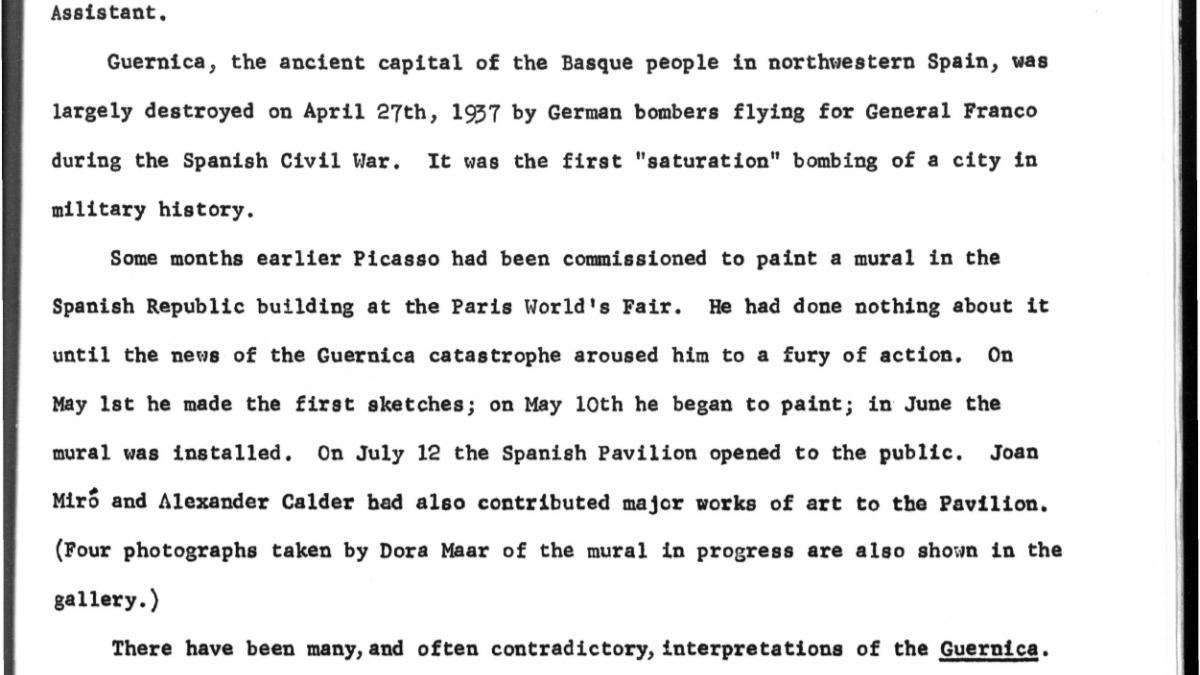 Nota de prensa sobre Guernica: Studies and Postscripts