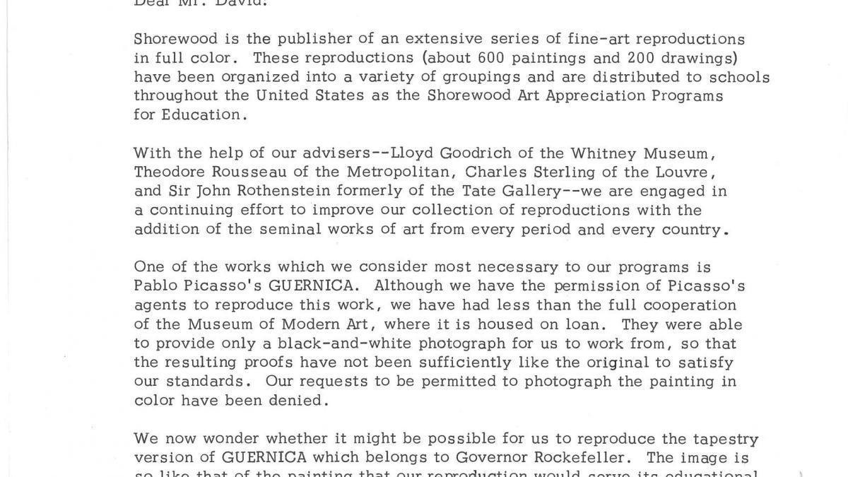 Carta de Shorewood Reproduction Inc. a Steven V. David