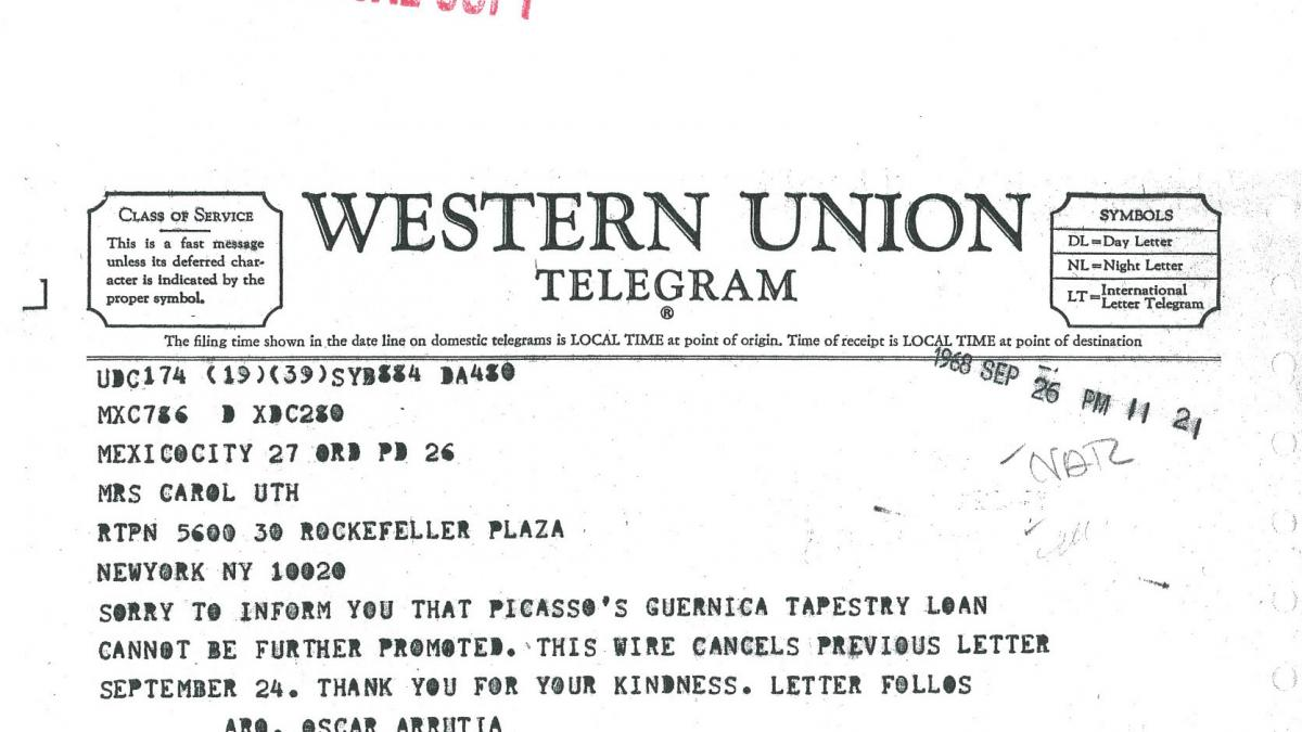 Telegrama de Óscar Urrutia a Carol K. Uht