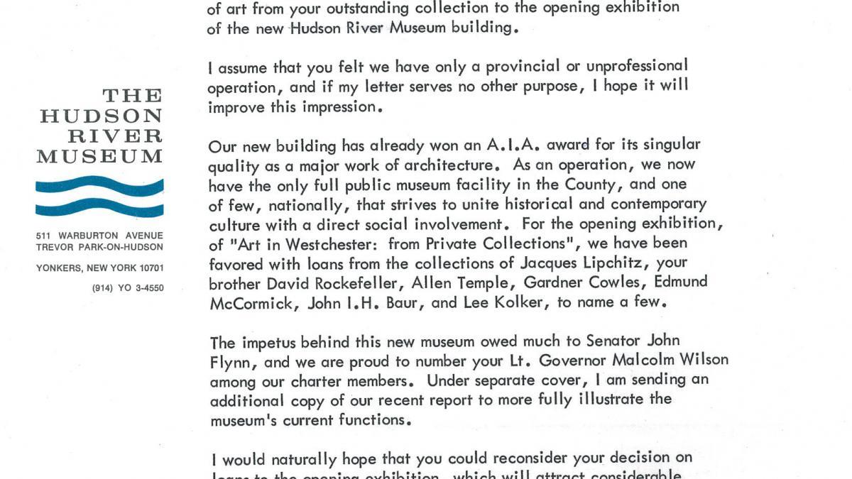 Donald M. Halley Jr.'s letter to Nelson Rockefeller