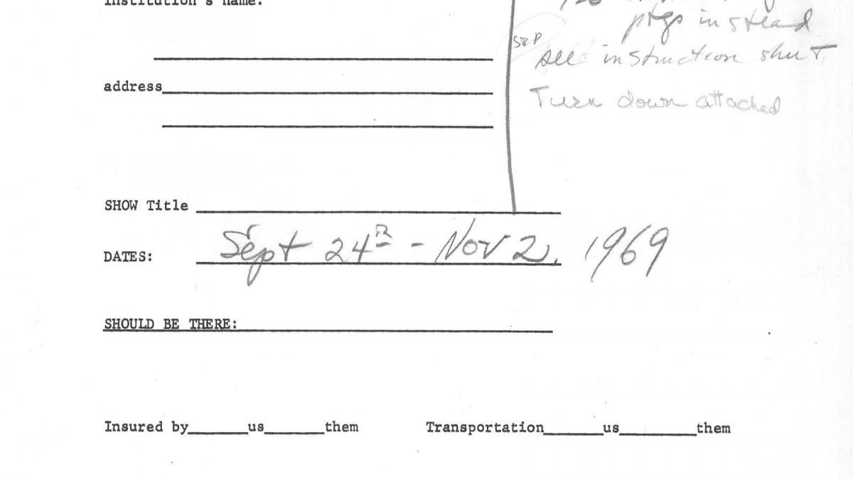 Formulario de préstamo de la réplica de Guernica en tapiz al Hudson River Museum