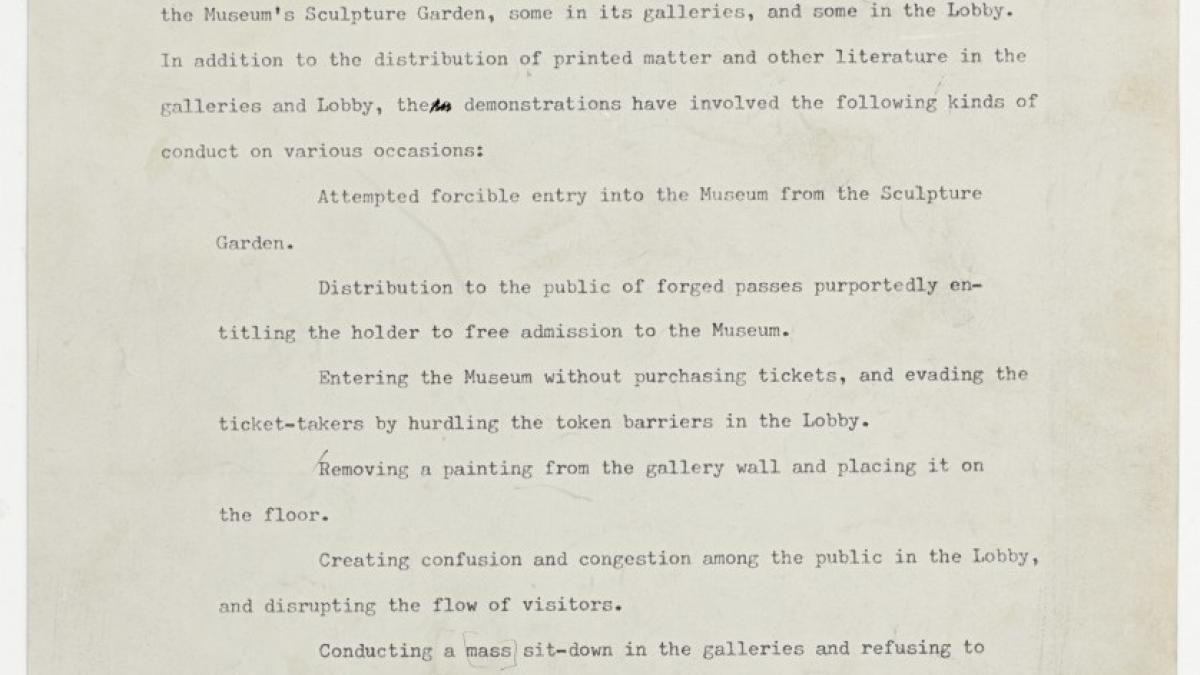 Carta del Comité de Operaciones del Museum of Modern Art de Nueva York a Joan Snyder