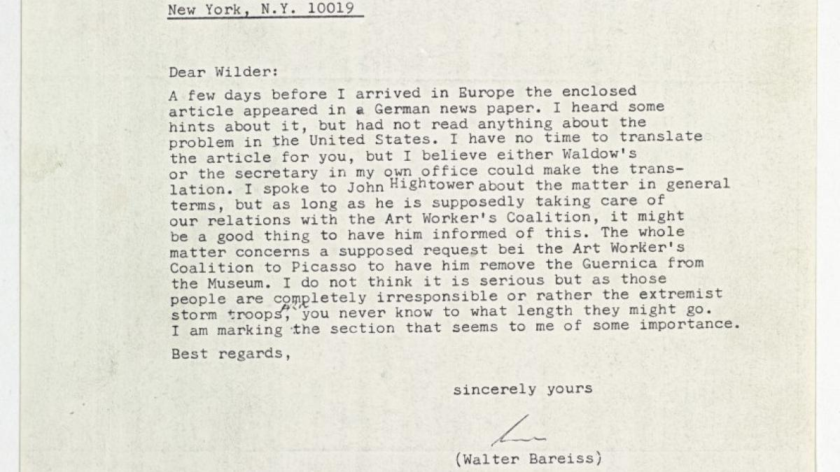 A letter from Walter Bareiss and Robert Von Berg to Wilder Green