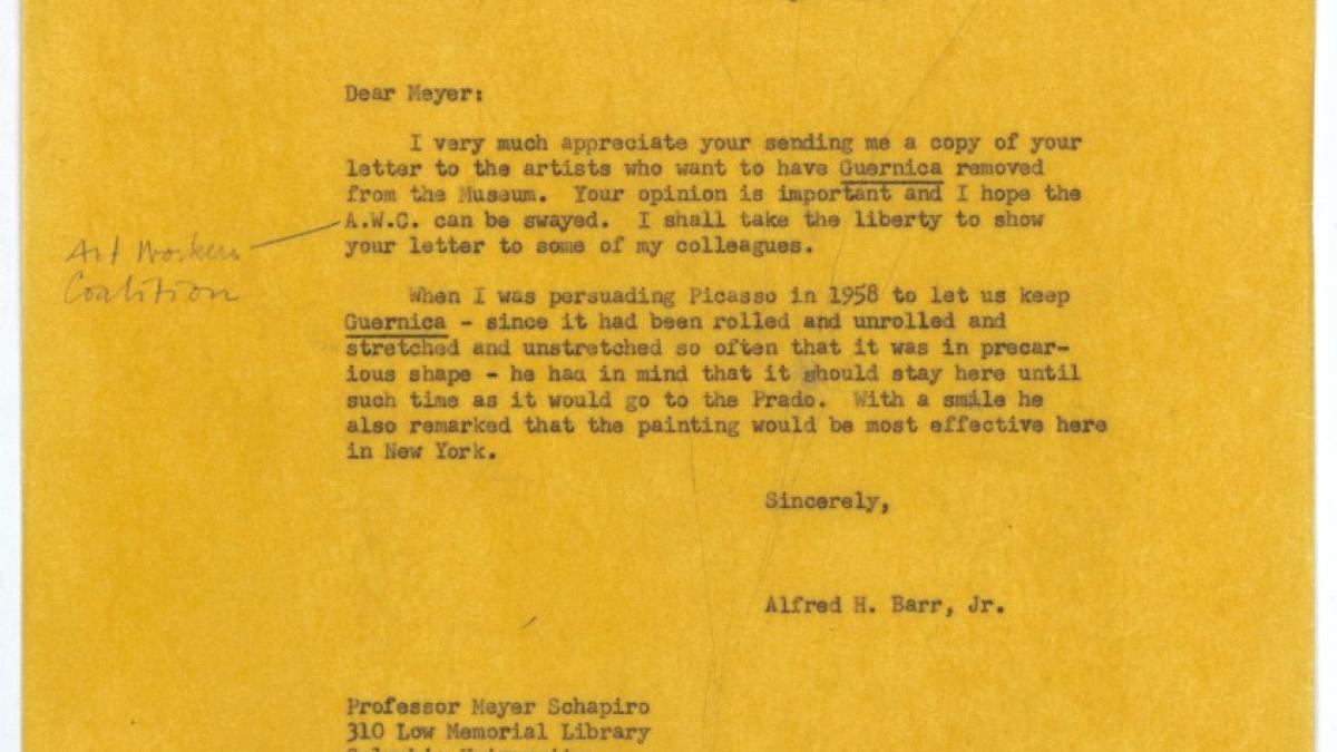 Carta de Alfred H. Barr Jr. a Meyer Schapiro