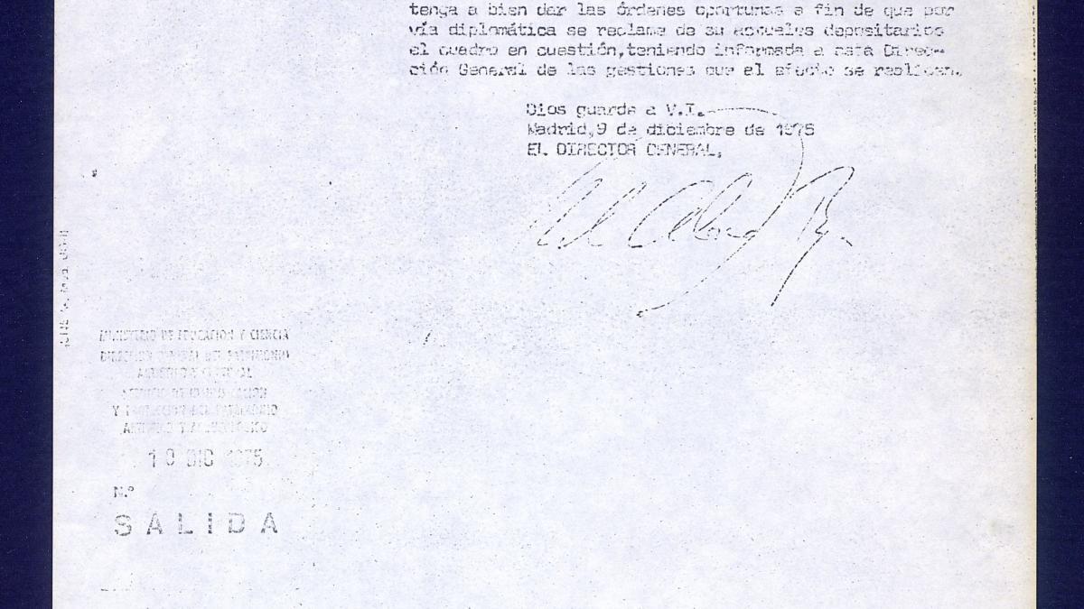 Carta del director general del Patrimonio Artístico y Cultural, Ministerio de Educación General