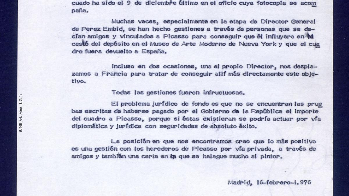 A report from the National Commission of Artistic Heritage on the documents needed to recover Guernica.