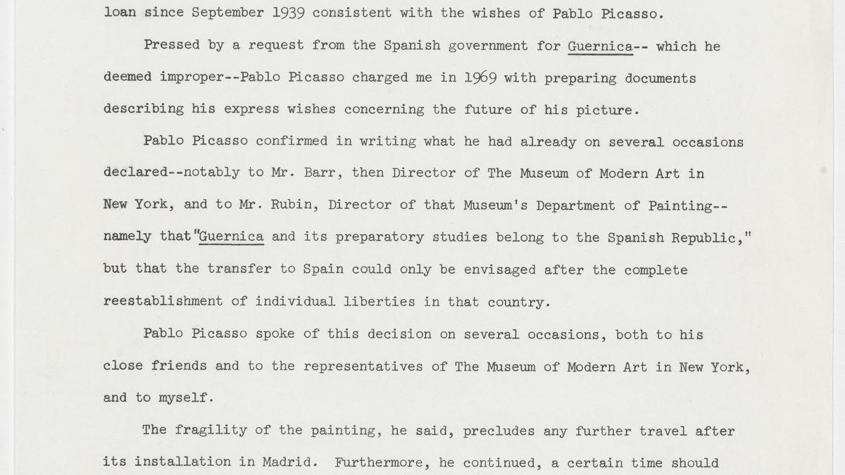 Comunicado de Roland Dumas sobre Guernica