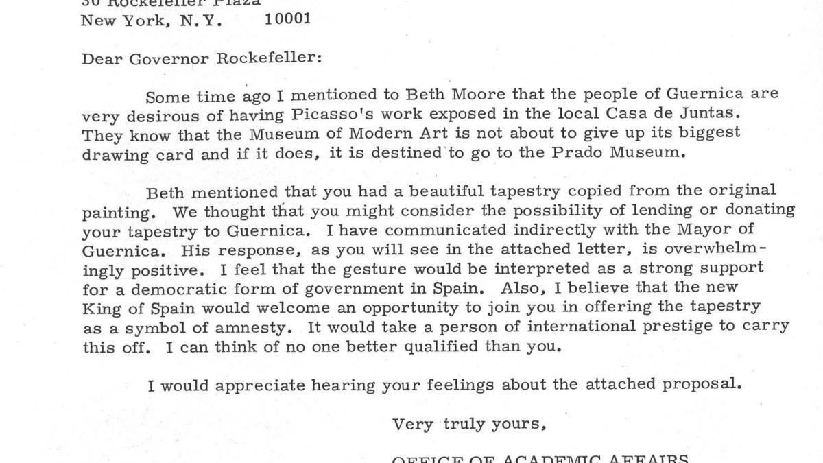 Carta de Emilia Doyaga a Nelson Rockefeller