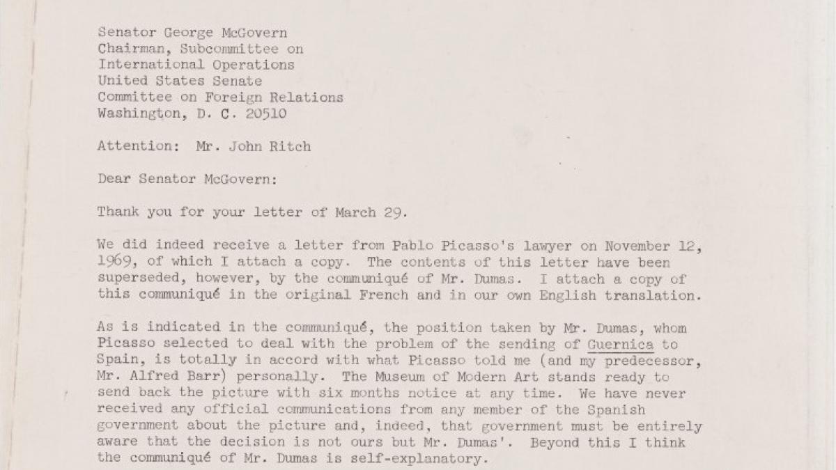 Carta de William Rubin a George McGovern
