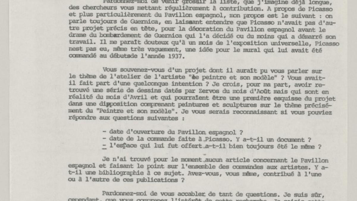 Carta de Dominique Bozo a Josep Lluís Sert del 3 de noviembre de 1980
