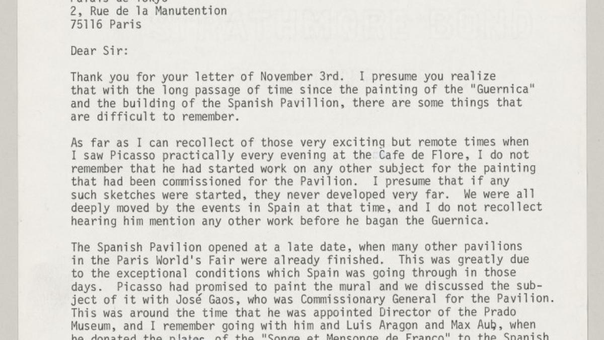 Josep Lluís Sert's letter to Dominique Bozo