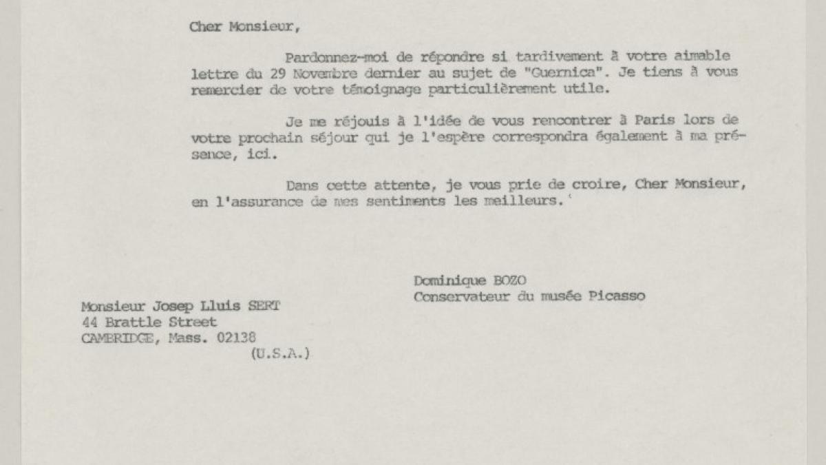 Carta de Dominique Bozo a Josep Lluís Sert del 23 de diciembre de 1980