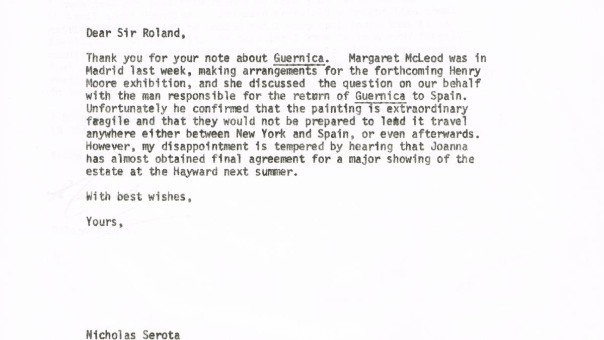 Nicholas Serota's letter to Roland Penrose, dated 1 May 1980