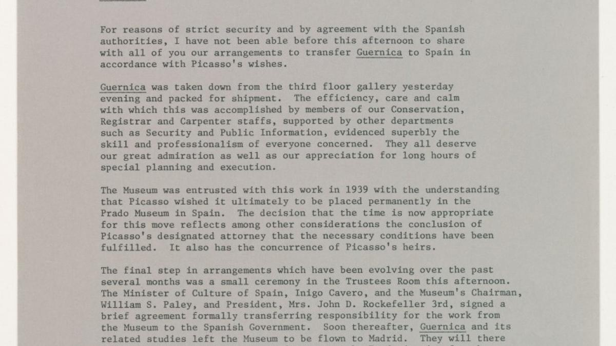 Internal communiqué from Richard Oldenburg, director of the Museum of Modern Art, New York, on the departure of Guernica