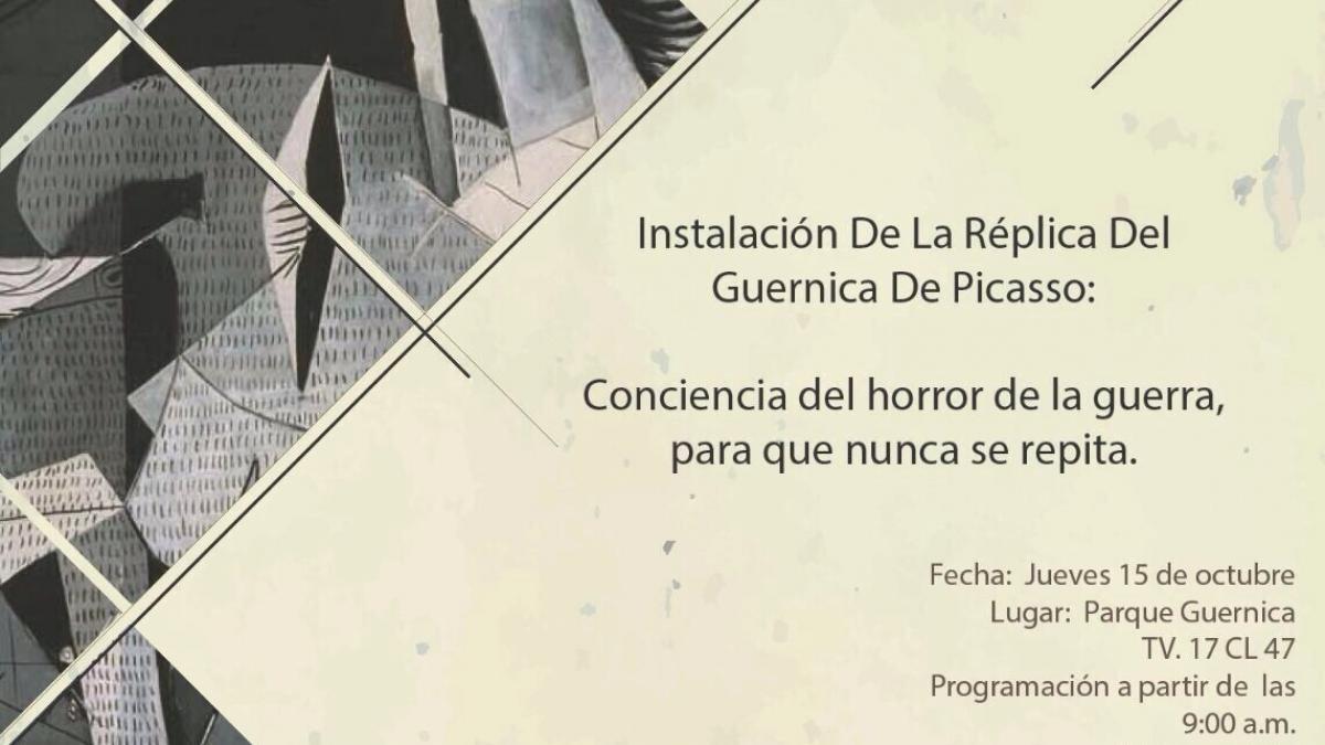 Réplica de Guernica en mural en el Parque de la Memoria de Tesauquillo, Bogotá