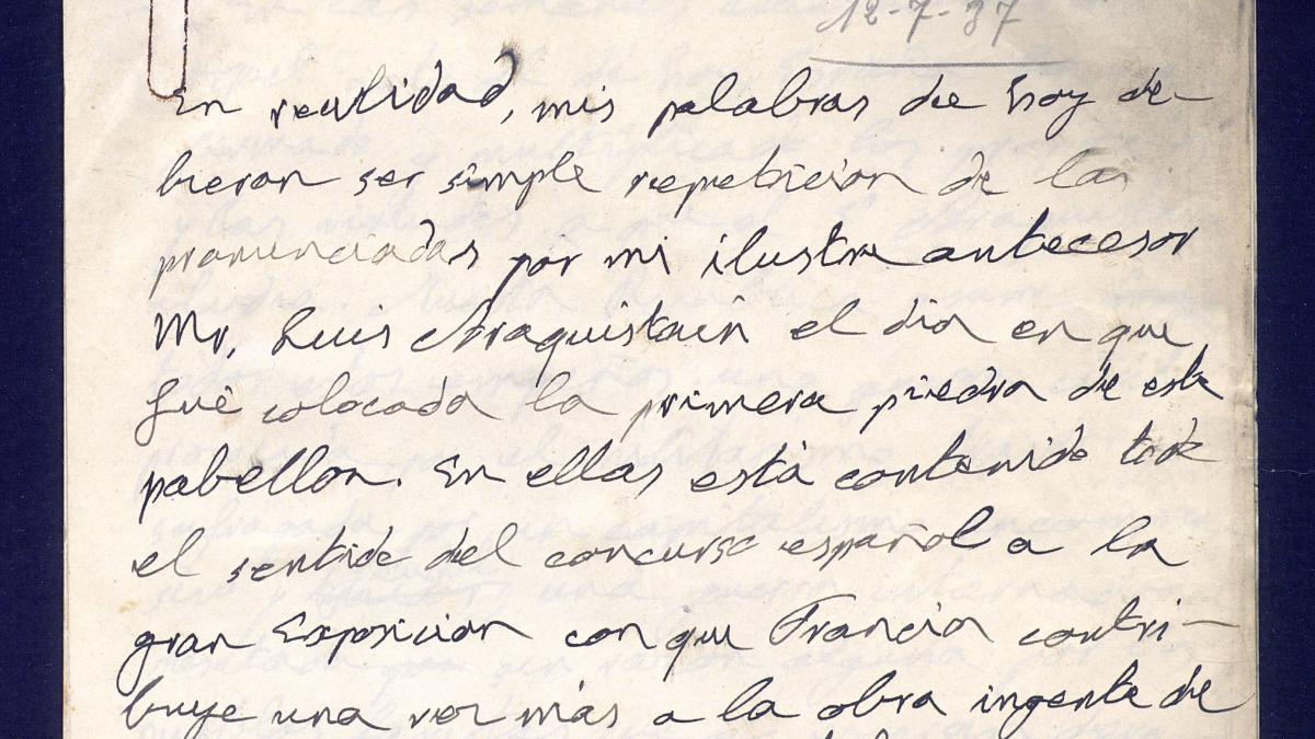 Notas del discurso de la recepción en la embajada con motivo de la inauguración del Pabellón de España