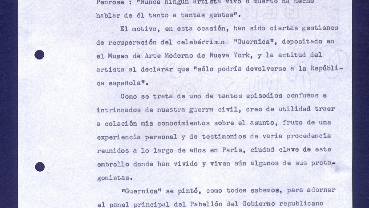 Informe sobre la apertura del Museo Picasso de Barcelona