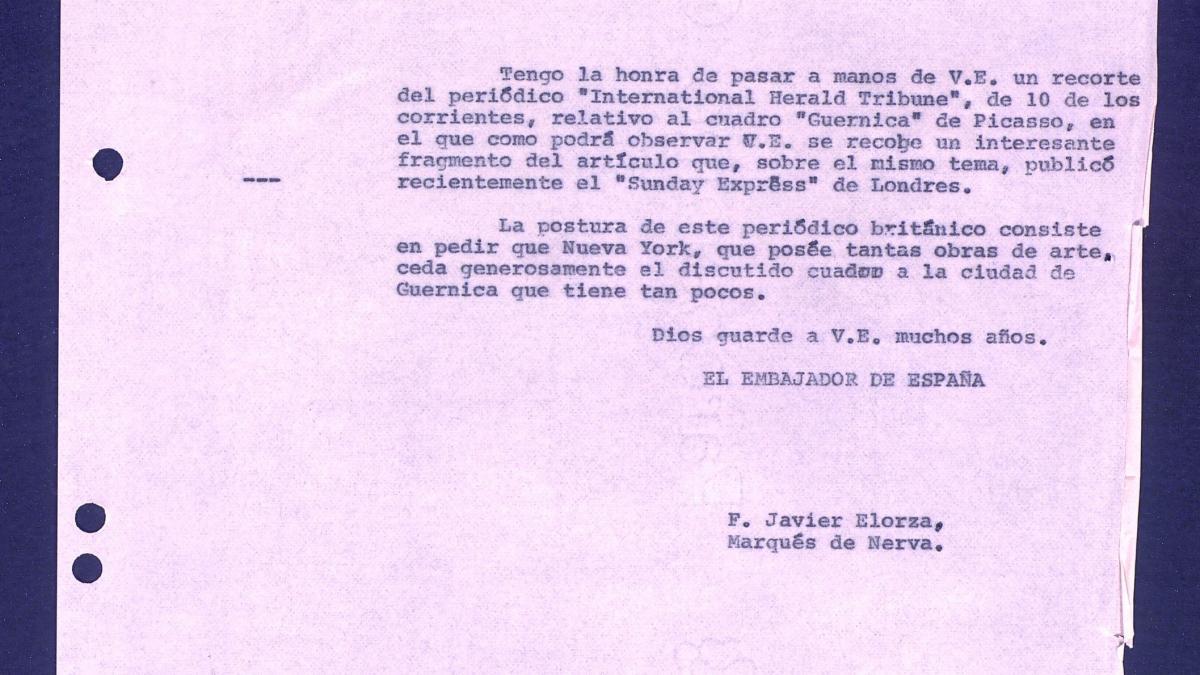 Carta de  Javier Elorza a Marcelino Oreja