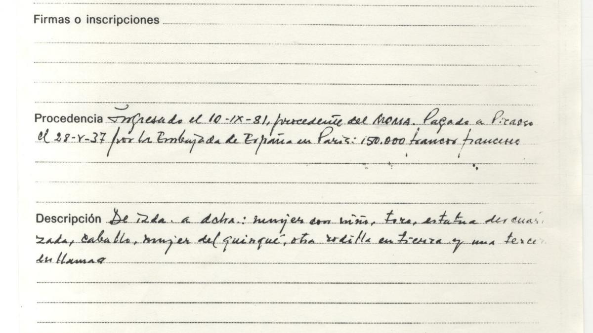 Hoja de registro de entrada de Guernica en el Casón del Buen Retiro de Madrid